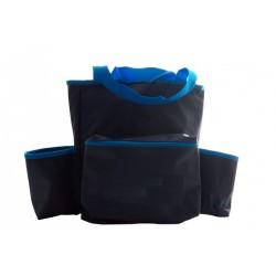 Watertas blauw met 2 zijvakken en ritsvak